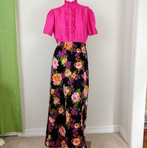 Vintage 70s Union Label Quilted Floral Maxi Skirt